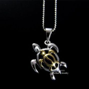 SILVER 925 HAWAIIAN SWIMMING HONU TURTLE YELLOW GOLD PLATED HONU TURTLE PENDANT
