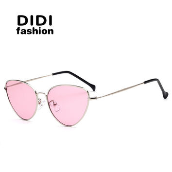 DIDI 6Color Pink Sunglasses Women Cat Eye Hippie Italian Eyewear luxury brand Thin Metal Frame Flat Yellow Lens Frog Shades W640