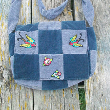 Blue Gray Recycled Corduroy Crossbody Purse Sparrow Patch Birds Long Strap