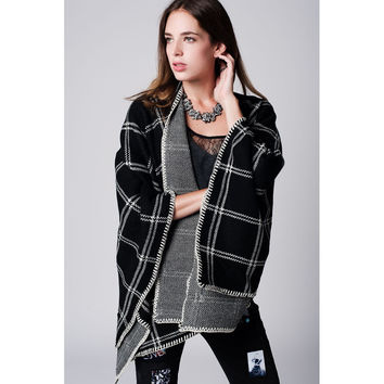 Oversized Black Check Poncho