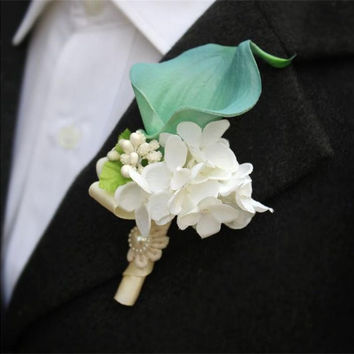 DIY calla lily Corsage flowers Groom groomsman suit men Boutonniere Prom pin brooch Wedding party decorations