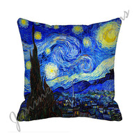 "Starry Night Van Gogh (both sides) 18"" Decorative Throw Pillow Cover 18x18 Eco Friendly Fabric 18 inch Pillow Cover  blue yellow black"