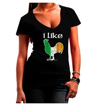 I Like Irish Rooster Silhouette Juniors V-Neck Dark T-Shirt by TooLoud