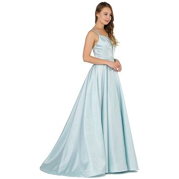 Double-Strap A-Line Long Prom Dress with Pockets Blue