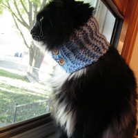 Cat Cowl or Small Dog Cowl, Blue Cat Collar With Buttons//Kitty Scarf// Hand Knit / Ready to Ship