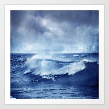 Blue wave Art Print by Guido Montañés