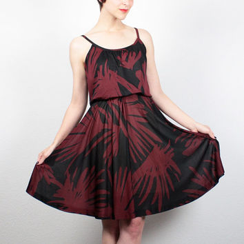 Vintage 70s Dress Midi Dress Burgundy Black Tropical Leaf Print Hippie Dress Boho Midi Sundress 1970s Dress Disco Dress S Small M Medium