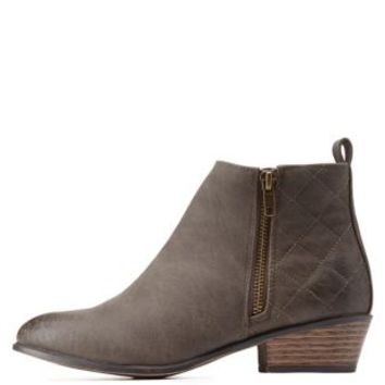 Taupe Quilted Back Almond Toe Booties by Charlotte Russe