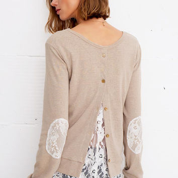 Cupshe Casual Friday Lace Splicing Knitting Top