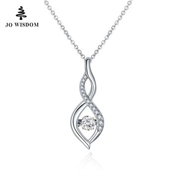 JO WISDOM 925 Sterling Silver Pendant Necklace with Dancing Natural Stone Natural Topaz