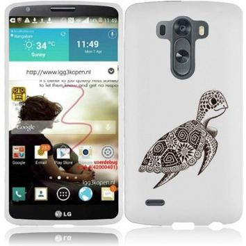Fincibo (TM) LG G3 D850 D851 LS990 VS985 D855 Premium Hard Plastic Snap On Protector Cover Case - Cute Turtle, Front And Back