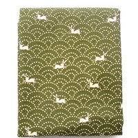 Japanese Fabric  Half Yard  Cute Beige Rabbits And Waves Green 110 cm x 50 cm (F39)