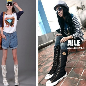 Women's punk EMO Rock Knee High canvas boots = 1945761860