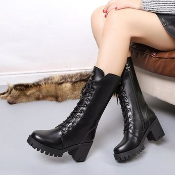 2017 Sexy lace up square high heel women boots mid calf zipper snow boots Thick Platform punk style Motorcycle Shoes women