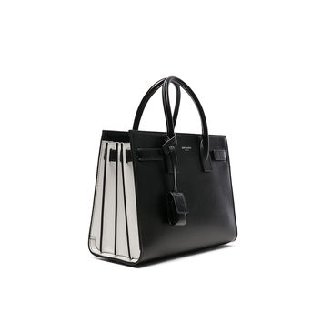 Saint Laurent Baby Colorblock Sac de Jour in Black & Pearl White | FWRD