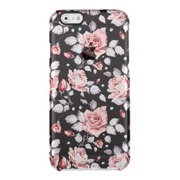 Vintage Pink Floral Pattern Uncommon Clearly™ Deflector iPhone 6 Case