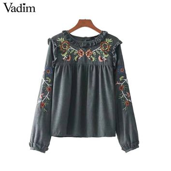 Vadim ruffles floral embroidery sequined loose shirts vintage long sleeve blouse vintage ladies casual chic tops blusas LT2378
