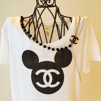 White Mickey Mouse Chanel Inspired T shirt!