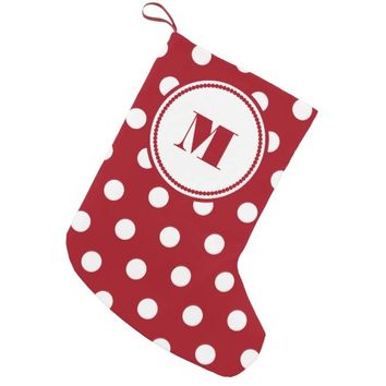 Personalized Monogram Red And White Polka Dots Small Christmas Stocking