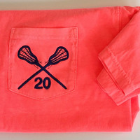 Short Sleeve Comfort Color Lacrosse Pocket Tees With Number