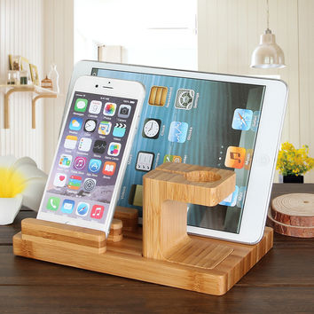 Bamboo Combo Charging Dock Cradle Holder for Apple Watch  iPhone 6   6 Plus   iPad Mini - Wood Color