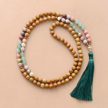 108 Beads Mala 8MM Natural Stones Long Tassel Necklace Women Lariat Yoga Necklace Bohemian Meditation Necklace Dropship