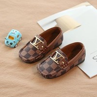Luxury Brand Plaid Toddlers Kids Little Boys Girls Casual Leather Loafers