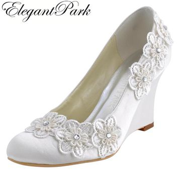 Women Wedges WP1416 Evening Party Round Toe Ivory High Heel Appliques Pumps Satin Bride lady Wedding Bridal Shoes Woman Heels