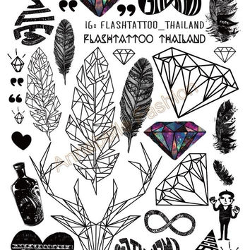 Body Art Temporary Tattoo Stickers Feather Rainbow Diamond Glitter Tatoo Sticker