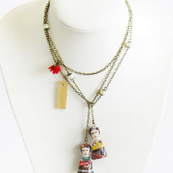 Frida Kahlo doll necklace long lariat necklace long layered chain necklace polymer clay doll decoupage one of a kind