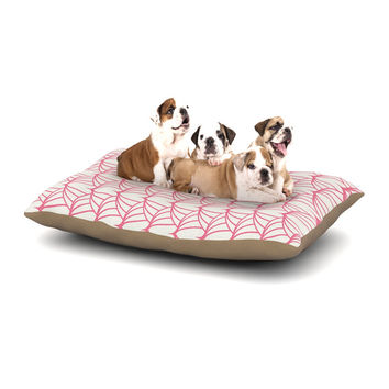"KESS Original ""Stitches"" Pink White Dog Bed"