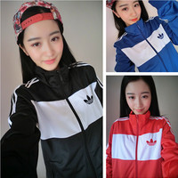 """Adidas"" Fashion Unisex Large Size Clover Print Three Bars Baseball Clothing Zip Sports Tops"