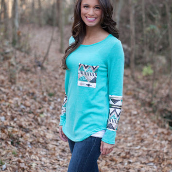 The Lucky One Sequin Blouse Mint