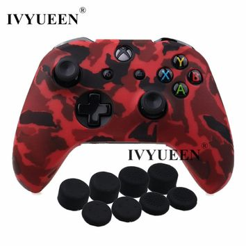 IVYUEEN 9 in 1 Protective Silicone Skin Case for XBox One X S Controller Protector Camo Cover with 8 Analog Stick Grips Caps