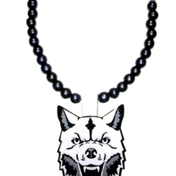 Painted Wooden Necklace | Wolf (Gray)