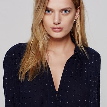 Free People Embellished Button Down Shirt