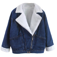Blue Long Sleeve Lapel Denim Jacket - Choies.com