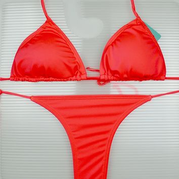 Fuchsia 3 Piece Set Triangle Top, Side Tie Thong & Side Tie Scrunch Bottom Bikini Swimsuit (Many colors available)