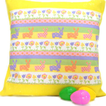 PRE EASTER SALE 50% Off Pillow Cover Easter Bunnies Flowers Stripes Polka Dots Yellow Green Pink Purple Orange Decorative 16x16