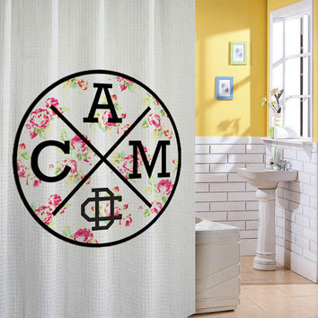 cameron dallas floral logo shower curtain