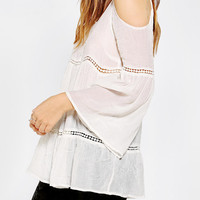Urban Outfitters - Staring At Stars Gauze Cold Shoulder Tunic