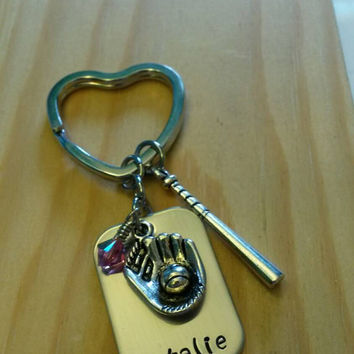 Hand Stamped softball Keychain - with Team Colors - softball Team gift