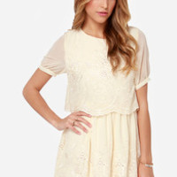 Floating on Heirloom Embroidered Cream Dress