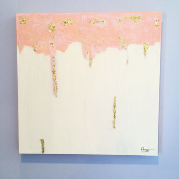 Abstract Pink and White Acrylic 20x20 inch Painting with Gold Leaf Accents