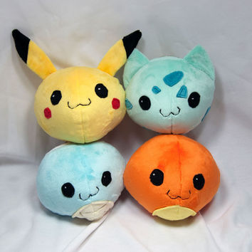 Round Pokemon Plush Collection- Pikachu, Charmander, Bulbasaur and Squirtle Plushies