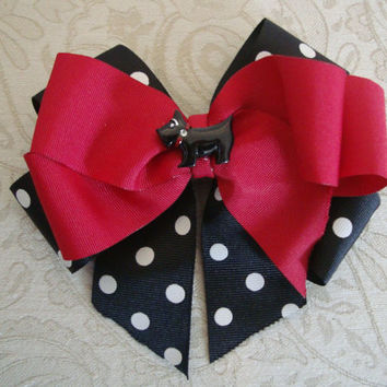 Black White and Red Polka Dot Scottie Dog Bow by BaileyHadaParty