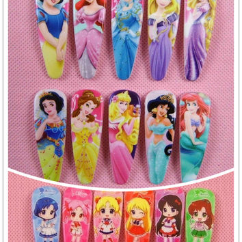 5/6/10/15 pcs Snow White Sofia Princess Hair Pin Cute Baby BB Hurora Cinderella Hair Clips Hair Bows Girls Hair Accessories 4