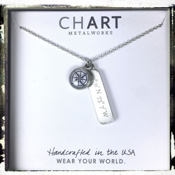 Chart Metalworks Custom Personalized Compass Rose Necklace with Coordinates