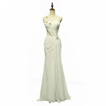 White Chiffon With Beading Prom Dresses Prom Dresses Unique Sexy Mermaid Prom Dress