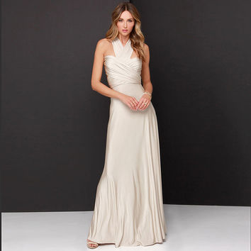 Cream Halter Bohemian Maxi Dress